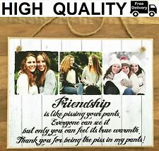 "8x6"" Personalised Photo Hanging Plaque Quote Wooden Friendship Gift Best Friend"