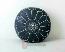 Genuine grayLeather Pouf ,Boho Ottoman Footstool chairs,living room
