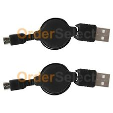2 USB Retract Micro Charger Cable for Phone Samsung Galaxy S2 S3 S4 S5 S6 S7 NEW