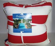 CUISINART RESORT & SPA 2 RED WHITE LARGE STRIPE INDOOR OUTDOOR DECORATIVE PILLOW