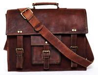 vintage goat Soft leather messenger satchel bag genuine laptop brown briefcase