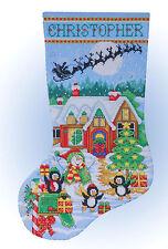 Cross Stitch Kit Design Works Snowman & Penguin Party Christmas Stocking #DW5972