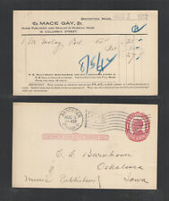 1912 1914 Mace Gay Music Publisher Brockton Mass Advertising Us Postal Card Ux24