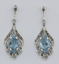 Antique Style Blue Topaz Marcasite Earrings Sterling Silver