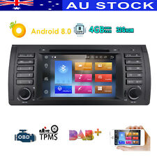 """7"""" Android 8.0 DAB+ Sat Nav Car Stereo SD WiFi Canbus BMW 5 Series E39 X5 E53 M5"""