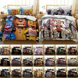 Five Nights At Freddy's Cartoon Bedding Set Duvet Quilt Cover Pillowcase UK Size
