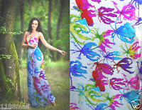 100% pure silk sheer chiffon floral fabric 6 momme per yard npc 34655 silky thin