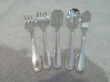 service à hors d'oeuvre metal argente Ercuis Godrons 5p appetizer serving set