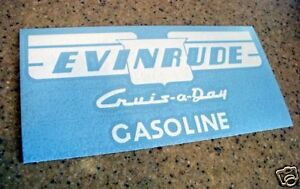Evinrude Vintage Tank Decal Cruis-A-Day 2-PAK FREE SHIP + Free Fish Decal!
