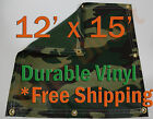 12' x 15' Heavy Duty 18 oz Vinyl Camo Camouflage Tarp Ground Cover Blind