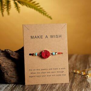 Charm Make A Wish Natural Stone Bracelet Friendship Family Card Bangle Jewelry