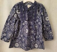 The Children's Place Girls Blue White Floral Circle Shirt Top Blouse Size 3T