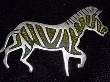 Vintage Perlita TAXCO 925 STERLING SILVER ENAMEL Zebra BROOCH PIN