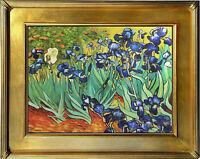 Van Gogh IRISES Original Oil Painting 20x24 Floral Framed  Canvas **SALE