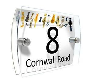 House Sign plaque Door Number Glass effect Acrylic #D190 Cats