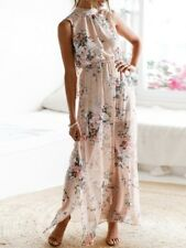 Knotted Open Back High Slit Maxi Floral Dress, Size Large - Best suit size 10-12