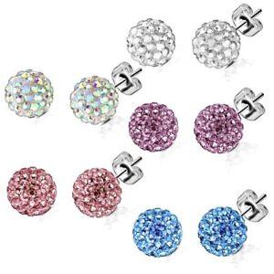 Shamballa Ear Stud Stainless Steel Earrings Multi Crystal Balls Ferido Ball Z525