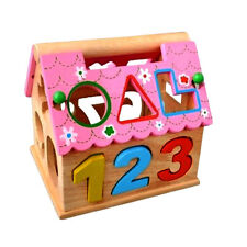 Wooden House Number Shape Sorter Kids Educational Puzzle Assemble Blocks Toy Set