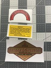 Briggs & Stratton old repro 1949-63 Oil Bath Half Circle decal set of 3