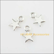 80Pcs Tibetan Silver Tone Tiny Smooth Star Charms Pendants 8.5x11mm
