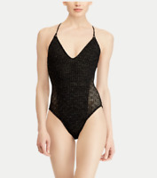 Ralph Lauren Women's Open Back One-Piece SwimSuit Black M L Crochet Glitter NWT