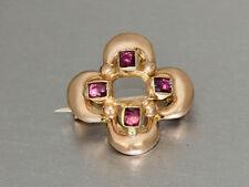 Brosche Gold 585 mit 4 Rubinen - Goldbrosche - 14 kt Gold - Wien 1890
