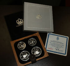 1976 Canada Track & Field Olympic Four Coin Silver Proof Set w/Maple Case