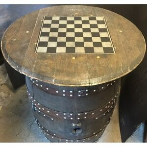 Recycled Solid Oak Whisky Barrel Drinks Cabinet CaskBrodie Balmoral Chess Board