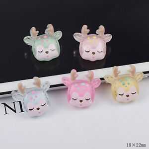 Mix 35pcs Lovely Deer 19×22mm Slime Raw Material Pastel Resin Cabochons Diy