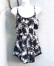 PALM TREE Black White Summer Sleeveless Short Rue 21 ROMPER NWT Size Small Med