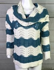 Sun & Shadow Womens Crocheted Knit Sweater Blue White Sz Small Funnel Neck A2503