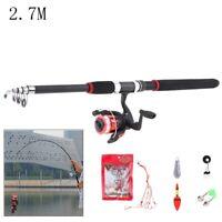 Telescopic 2.7M Fishing Rod Reel Combo Full Kit Spinning Fishing Reel Pole Set