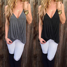 Womens Plunge V Neck Tank Top Vest Casual Beach Sleeveless Strappy Wrap Blouses