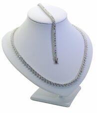 Solid Sterling silver Riviera Tennis Necklace & Bracelet set 4.5mm wide 16/17/18