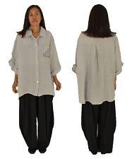 LF700HGR Hemd-Bluse Leinen one size Tunika Vintage Turn Up Gr. 46 48 50 hellgrau