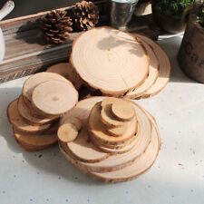50x Wooden Wood Log Slices Discs Decorative Rustic Wedding Pyrography DIY