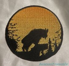 Embroidered Mountain Goat Sunset Silhouette Ombre Circle Patch Iron On Sew USA