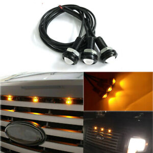 3Pcs Amber Front Grille Marker LED Light Bulbs Lamps for Ford F-150 F-250 Escape