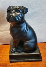 Large Black Ceramic Olde English Bulldog Statue Figure