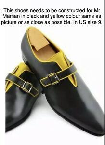 Custom Handmade Men's  Leather Formal Single Monk Leather shoes