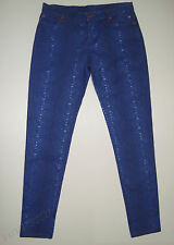 BEAUTIFUL CASSETTE SOCIETY BLUE REPTILE PRINT SKINNY JEANS size M (AUS 10/12)