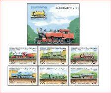 SOM9901 Locomotives 6 stamps and block MNH SOMALI 1999