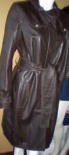 Elie TAHARI ALEXANDRA Leather Coat Trench Coat Dark Brown  MEDIUM (8-10)  EUC