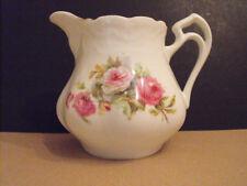 "Large American Vintage Milk Jug/Creamer 5""tall White Pink Roses 1900-40s 3cup"