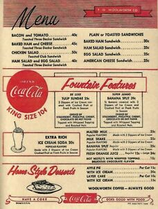 WOOLWORTH VINTAGE LUNCH COUNTER MENU FROM SEPTEMBER 1956S REPRINT  F W WOOLWORTH