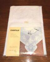 "VINTAGE CHANTILLY WHITE TABLECLOTH & 8 NAPKIN SET 65 X 84"" OVAL NEW OLD STOCK"