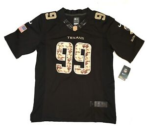 NFL Houston Texans JJ Watt Mens Small Nike Black & Camo Jersey Salute To Service