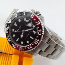 40mm parnis black dial GMT Datum Saphirglas Automatisch Movement Uhr men's Watch