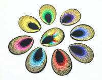 100 pcs Peacock eye Embroidered Cloth Iron On Patch Sew Motif Applique  Iron On