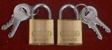 Padlocks pair Abus 4 keys 65 25mm brass 65/25 class 4 same keys c details +offer